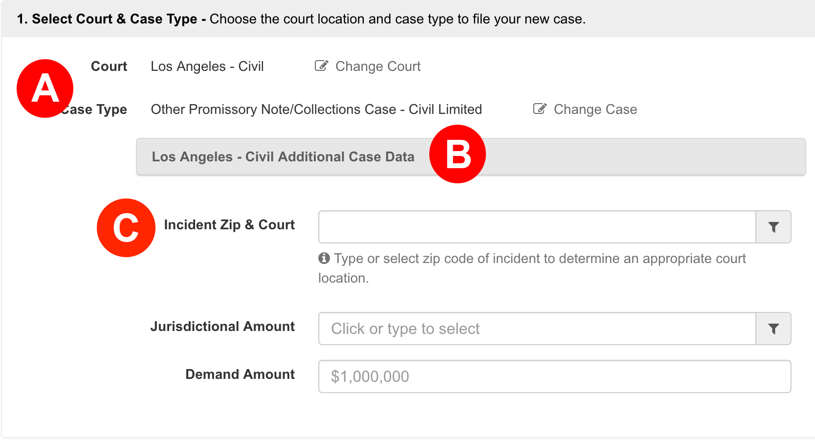 Select Court and Case Type
