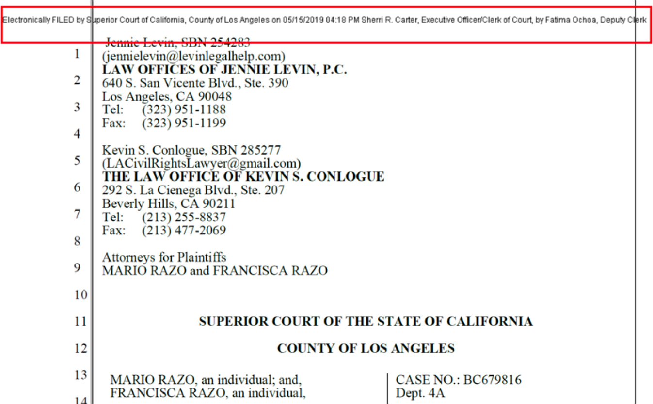 File Stamp on Los Angeles Civil Court Documents