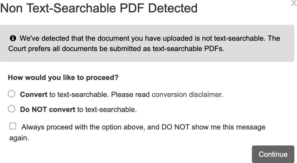 Ask Upon Uploading a Document
