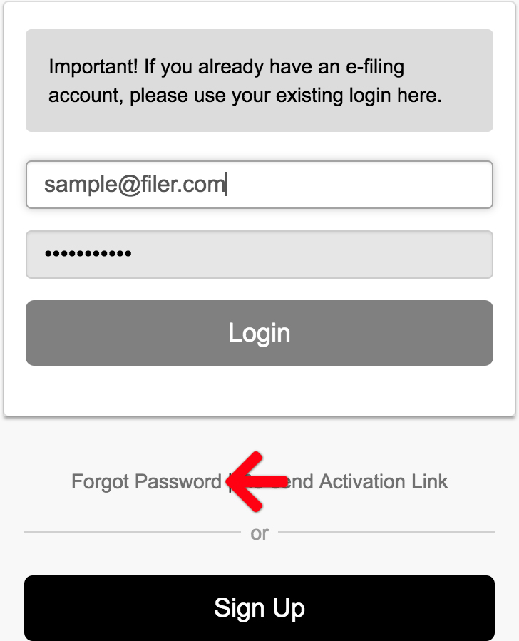 Forgot Password / Unlock your Account - E-Filing HelpE