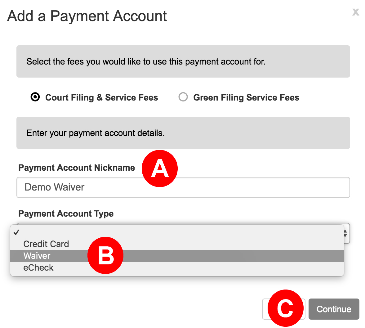 waiver payment account