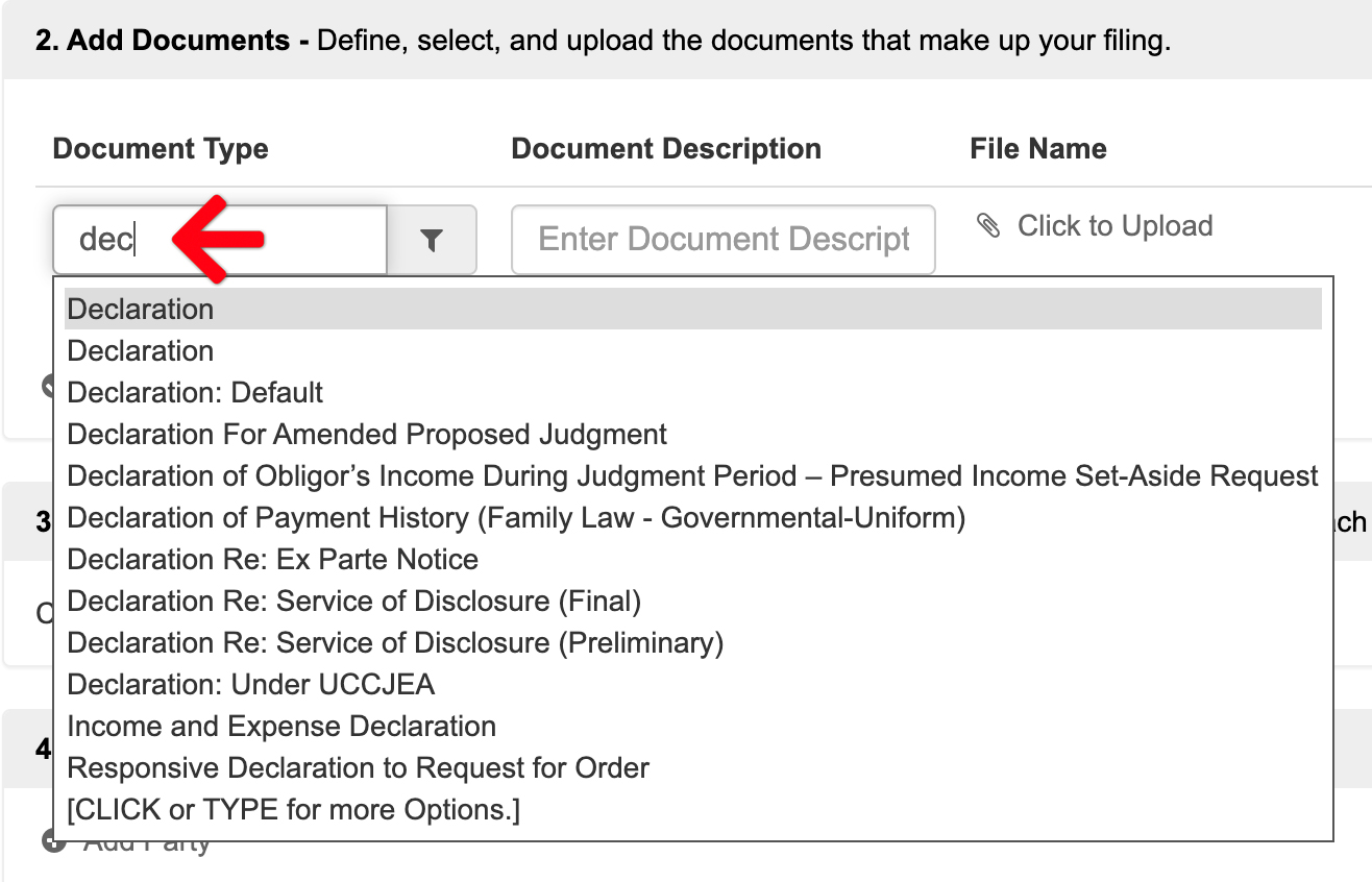 Filter Document Type Choices