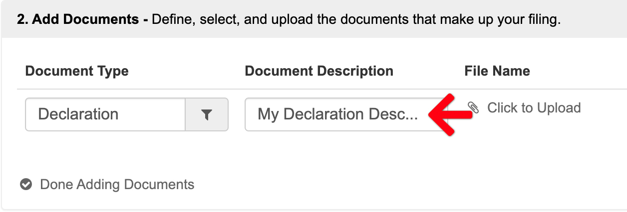Document Description Field